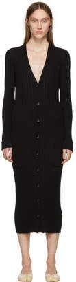 Maison Margiela Black Reconduit Ribbed Long Cardigan