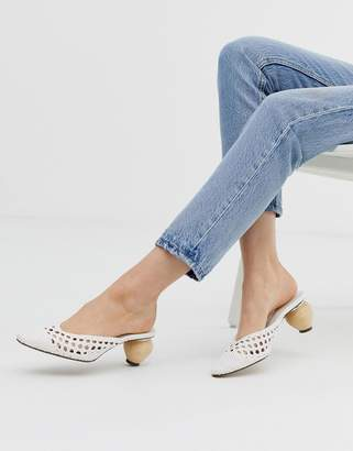 ca8748108 Bershka woven mules with interest heel in white