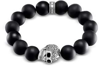 Thomas Sabo Power Skull Sterling Silver Men's Bracelet w/Obsidian Matt Beads