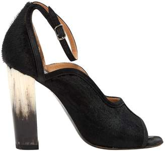 Dries Van Noten Black Pony-style calfskin Sandals