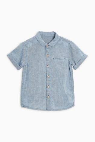 Boys Chambray Short Sleeve Linen Rich Shirt (3mths-6yrs) - Blue