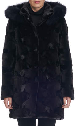 Gorski Sectioned Mink Fur Parka Coat with Fox Hood