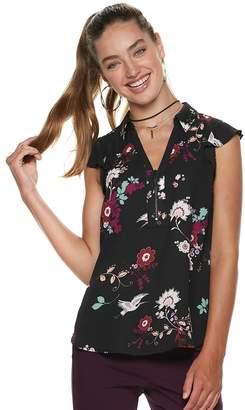 Candies Juniors' Candie's Zip Front Flutter Sleeve Top