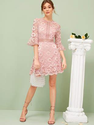 Shein Flounce Sleeve Lace Overlay Dress