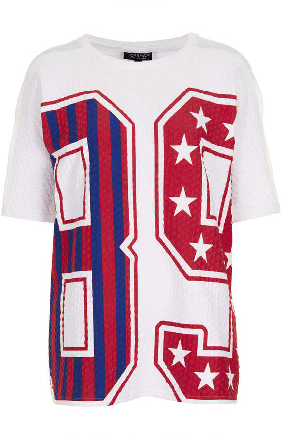 Topshop Quilted Number Tee