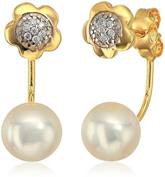 14k Gold Italian Freshwater Pearl and Cubic Zirconia Dangle Earrings