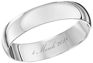 Theia Unisex 9 ct White Gold, Heavy D Shape, Engraved 04 March 2018, Polished, 4 mm Wedding Ring - Size I