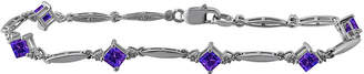 JCPenney FINE JEWELRY Genuine Amethyst and Diamond-Accent Sterling Silver Bracelet
