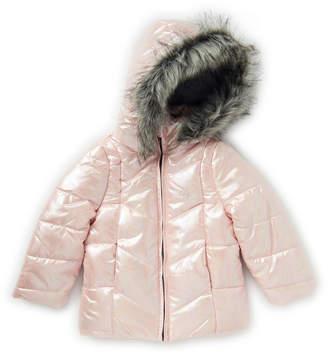 Calvin Klein Jeans Toddler Girls) Light Pink Faux Fur-Trimmed Metallic Puffer Jacket