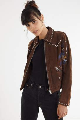 Blank NYC BLANKNYC Embroidered Suede Moto Jacket