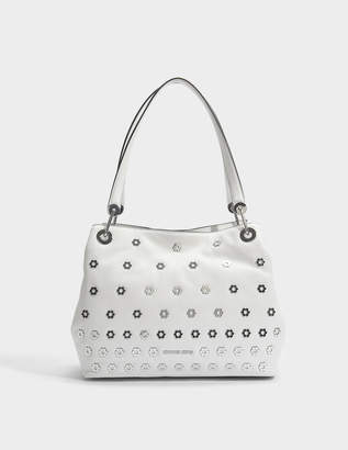 7450e608cb5 MICHAEL Michael Kors Raven Large Shoulder Tote Bag in Optic White Small  Pebble Leather