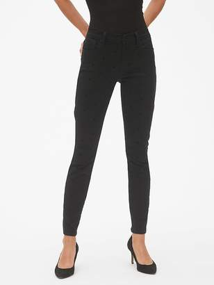 Gap Mid Rise True Skinny Jeans with Polka-Dots