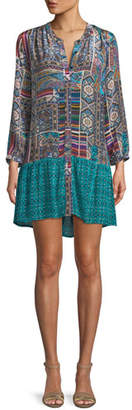 Tolani Alex V-Neck Button-Front Mixed-Print Tunic Dress, Plus Size