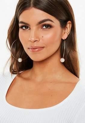 Missguided Gold Look Pearl Hoop Earrings