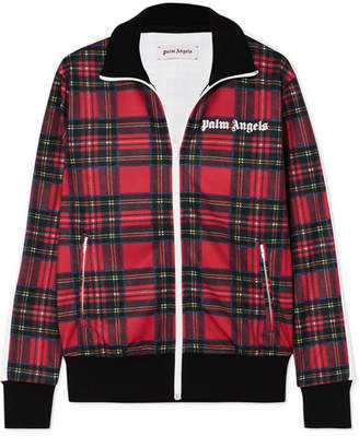 Palm Angels Tartan Jersey Track Jacket - Red