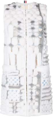 Thom Browne Sleeveleshort Sleeve Cardigan Coat In Long & Sheared Mink Fur Applique On Tulle