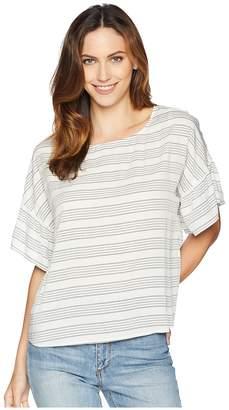 Vince Camuto Drop Shoulder Ruffle Sleeve Bar Stripe Blouse Women's Blouse