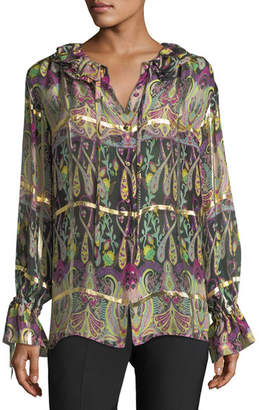 Etro Windowpane Gold Paisley Blouse