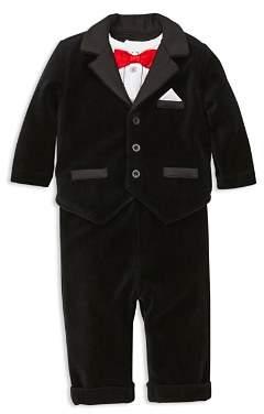 Little Me Boys' Velvet Tuxedo Jacket, Long-Sleeve Bodysuit & Velvet Pants Set - Baby