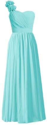 Tiffany & Co. DaisyFormals reg; Long One-Shoulder Chiffon Bridesmaid Dress Party Dress(BM102L Blue