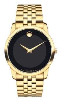 Movado Men's Museum Classic Goldtone PVD Bracelet Watch - Gold Black