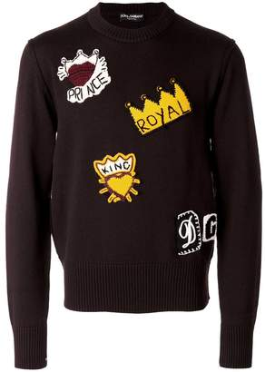 Dolce & Gabbana royalty knitted patch jumper