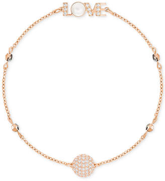 Swarovski Remix Collection Rose Gold-Tone Pave & Mother-of-Pearl Love Magnetic Bracelet