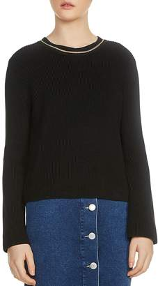 Maje Melting Long-Sleeve Chain-Trim Sweater