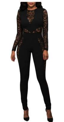 Spirio Womens Floral Lace Stitching Jumpsuits See-Through Bodysuits Pants  Romper M 2ac3ded16