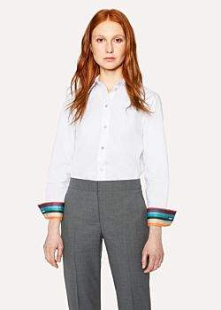 Paul Smith Women's White Cotton-Twill Shirt With 'Artist Stripe' Cuff Linings And Charm Button
