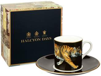 Halcyon Days Tiger Coffee Cup and Saucer