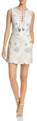 Badgley Mischka Floral Jacquard Lace-Up Shift Dress