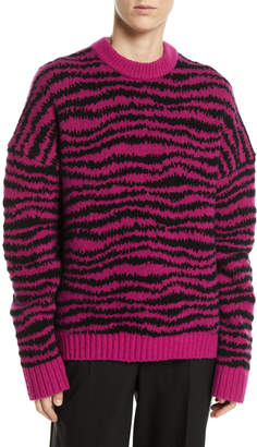 Marc Jacobs Crewneck Long-Sleeve Intarsia Knit Wool-Blend Sweater