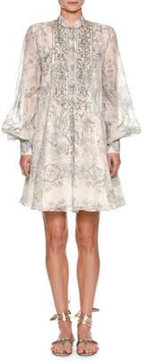 Etro Mandarin-Collar Paisley Dress