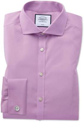 Charles Tyrwhitt Extra Slim Fit Non-Iron Spread Collar Violet Poplin Cotton Dress Shirt French Cuff Size 14.5/33