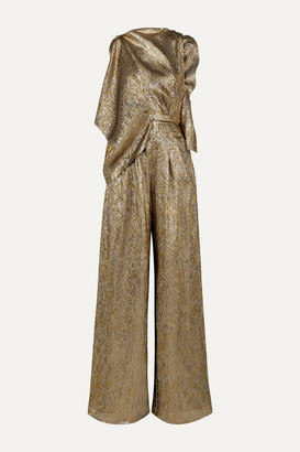 Roland Mouret Draped Metallic Silk-blend Jumpsuit - Gold