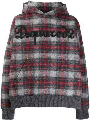 DSQUARED2 oversized plaid hoodie
