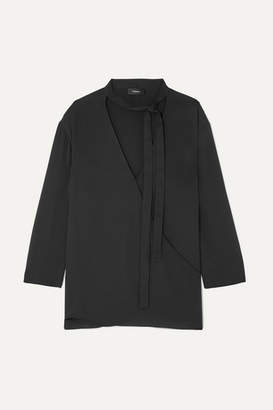 Theory Pussy-bow Wrap-effect Silk Blouse - Black