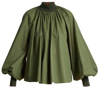 Roksanda Madora Balloon Sleeve Cotton Top - Womens - Dark Green