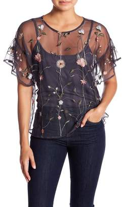 Lucky Brand Embroidered Mesh Top
