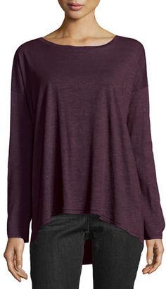 Eileen Fisher Long-Sleeve Slubby Organic Jersey Top $88 thestylecure.com