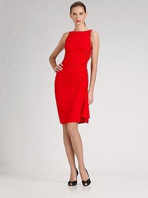 Michael Kors Ruched Woven Jersey Dress