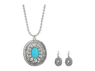 M&F Western Large Oval Concho w/ Turquoise Stone Necklace/Earrings Set