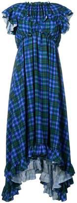 MSGM check empire-line ruffled dress