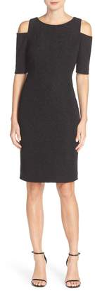 Eliza J Cold Shoulder Sparkle Knit Sheath Dress