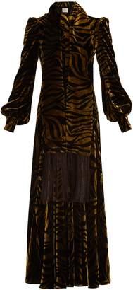 HILLIER BARTLEY Plimpton zebra-print panelled velvet dress
