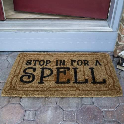 The Holiday Aisle Stop in for a Spell Handwoven Coconut Fiber Doormat