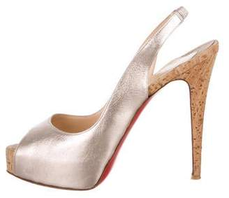 Christian Louboutin Metallic Leather Slingback Sandals