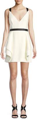 Halston Sleeveless Mini Dress w/ Dramatic Skirt
