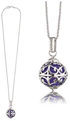 Camilla And Marc Herzengel Necklace with Engelsrufer Pendant for Girls 925-Sterling Silver Rhodium Plated with Purple Chime Length 38 cm plus 2 cm
